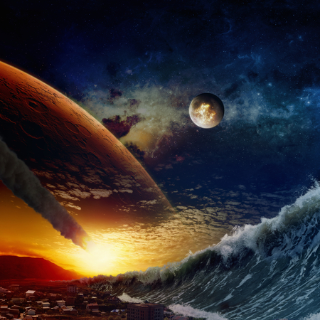 Apocalyptic dramatic background - giant tsunami waves crashing small coastal town, asteroid impact, end of world, exploding moon.  Elements of this image furnished by NASA nasa.gov