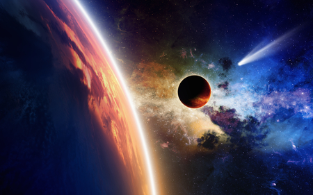Abstract scientific background - comet approaches glowing planet, nebula and stars in space.