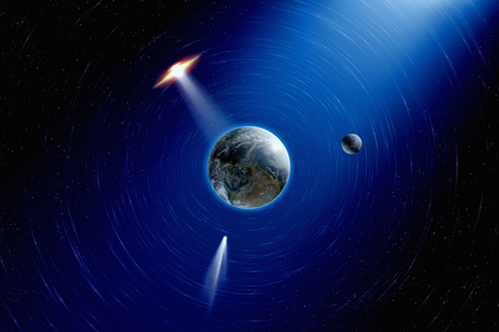 approaches: Abstract scientific background - planet Earth and moon in space, comet approaches planet Earth, ufo approaches planet Earth.  Stock Photo