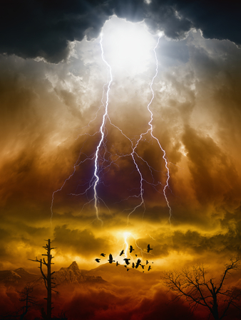 Apocalyptic dramatic background - lightnings in dark red sky, flock of flying ravens, crows in dark red moody sky, judgment day Stock Photo
