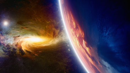 Abstract scientific background - glowing planet Earth, galaxy and stars in space.