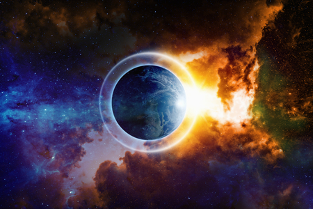 end of world: Scientific background - planet Earth is surrounded by protective shield in space, save planet, save world, end of world, red nebula in deep space. Elements of this image furnished by NASA nasa.gov Stock Photo