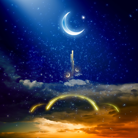 red sunset: Eid Mubarak background with shiny moon and stars, holy month, Ramadan Kareem, glowing red sunset, glowing mosque in skies