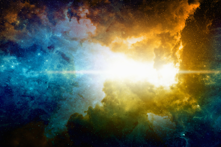 Astronomical scientific background, nebula and bright stars in deep space. Elements of this image furnished by NASA nasa.gov Foto de archivo