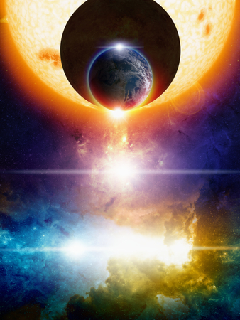 Abstract sci-fi background, planet Earth in space, dark aliens planet approaching Earth, big glowing sun, nebula and bright stars in deep space. Elements of this image furnished by NASA nasa.gov