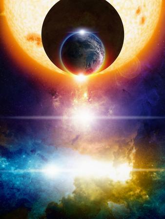 Resumen de fondo de ciencia-ficción, planeta Tierra en el espacio, extraterrestres oscuros planeta Tierra se acerca, grande resplandeciente sol, nebulosa y las estrellas brillantes en el espacio profundo. Los elementos de esta imagen proporcionada por la NASA nasa.gov Foto de archivo - 39684108