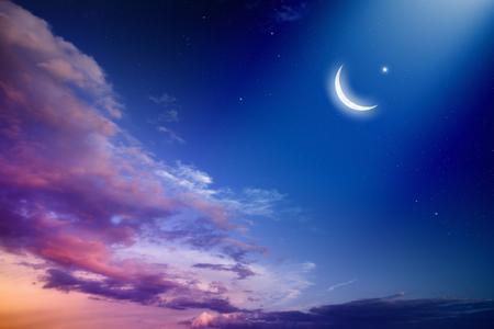 luz de luna: Fondo Ramadán Kareem con la luna y las estrellas, mes sagrado.