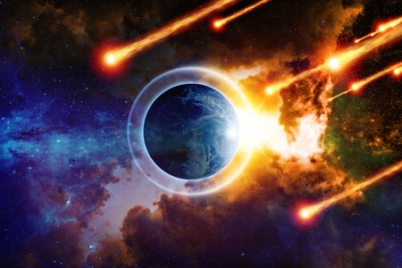 end of the world: Scientific background - planet Earth is surrounded by protective shield in space from asteroid impact, save planet, end of world, red nebula in deep space.