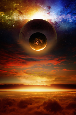 nibiru: Dramatic scientific background - exploding red planet approaching planet Earth, end of world. Stock Photo