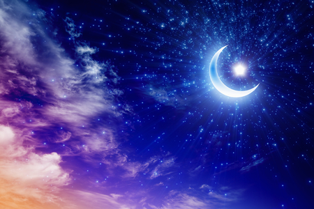 ramadan kareem: Ramadan Kareem background with shining moon and stars, holy month