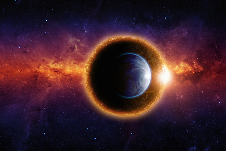 Abstract scientific background - aliens dark glowing planet approaching planet Earth, end of world, aliens invasion, nebula and stars in space.