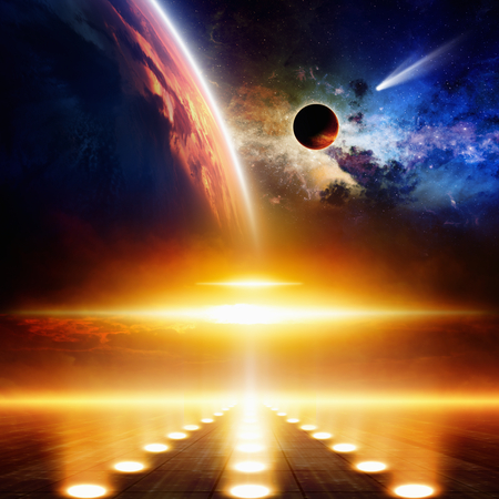 Abstract scientific background - comet approaches glowing planet, nebula and stars in space, flying ufo with bright spotlights.