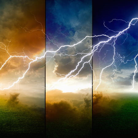 force of nature: Nature force background - powerful lightning in dark stormy sky with glowing horizon, weather forecast concept, climate change concept