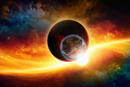 nibiru: Abstract scientific background - aliens dark planet approaching planet Earth, end of world, nebula and stars in space.  Stock Photo