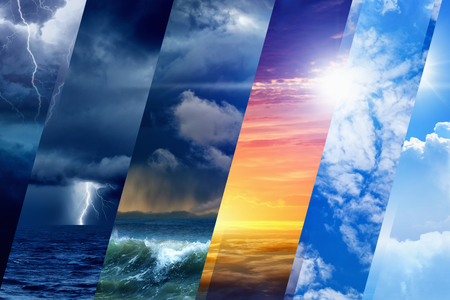 stormy: Weather forecast background - variety weather conditions, bright sun and blue sky; dark stormy sky with lightnings