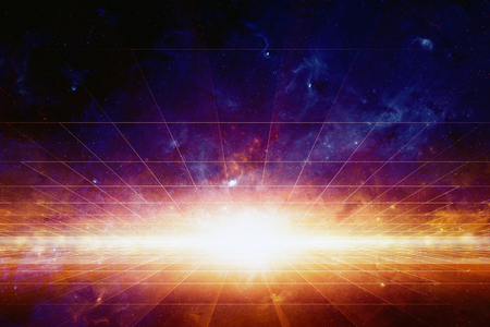 Abstrakt wissenschaftlichen Hintergrund, helles Licht aus dem Weltraum, Nebel und Sterne im Weltraum, glühende geheimnisvollen Universum. Standard-Bild - 43264242