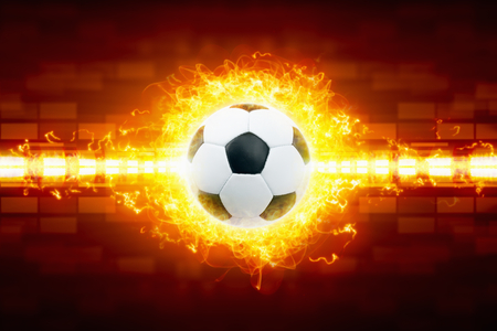 soccer sport: Abstract soccer background - burning soccer ball, soccer ball in fire