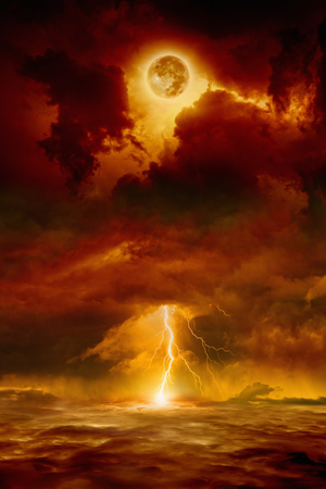 Dramatic apocalyptic background - dark red sky with full moon and lightning, end of world, judgment day.  Stok Fotoğraf