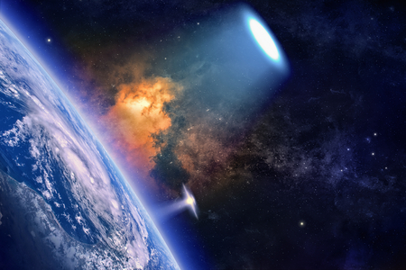Fantastic background - ufo with bright spotlight explores planet Earth in space, aliens invasion. Stock Photo