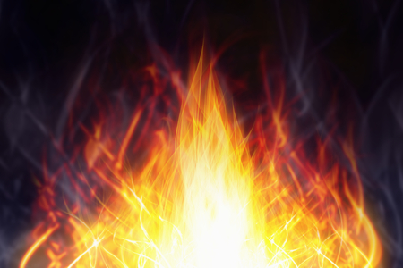 flame burn: Illustration of hot red glowing fire, flame on black background