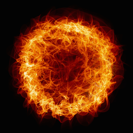 black circle: Abstract  background - burning circle, ring of fire Stock Photo