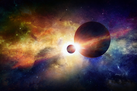 nibiru: Sci-fi space background - two planets in space, glowing mysterious nebula in universe.