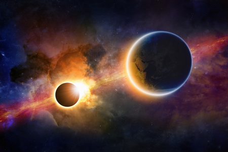 solar system: Abstract scientific background - glowing planet Earth in space, solar eclipse, nebula and stars. Elements of this image furnished by NASA nasa.gov