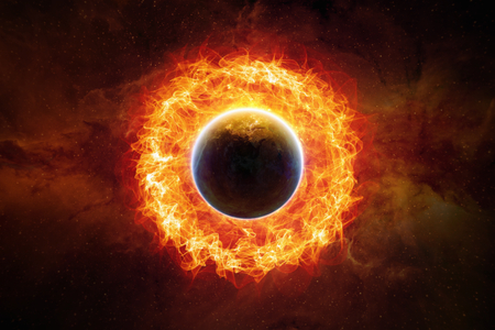 end of world: Dramatic scietific background - burning and exploding planet Earth in space, end of world.