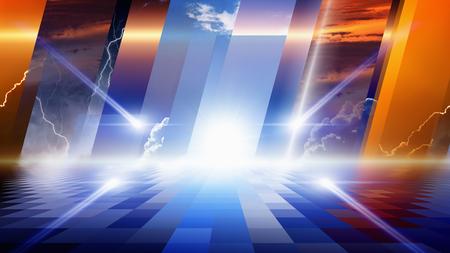 Fondo fantástico abstracto - luces brillantes con la reflexión, el sol brillante y el cielo azul; cielo oscuro de tormenta con relámpagos; atardecer y la noche