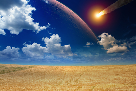 scientific farming: Apocalyptic dramatic background - asteroid impact, end of world, red planet approaching planet Earth. Stock Photo