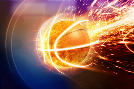 basketball background: Abstract sports background - burning basketball, orange glowing lights