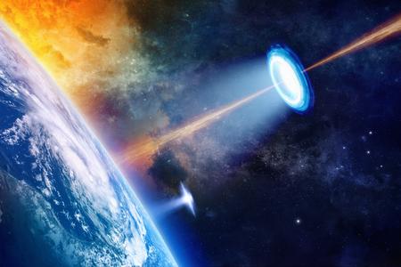 Fantastische Hintergrund - UFO strahlt Scheinwerfer auf dem Planeten Erde, geheime Experiment, Klimawandel, Klima Waffe. Elemente dieses Bildes von der NASA eingerichtet nasa.gov Standard-Bild