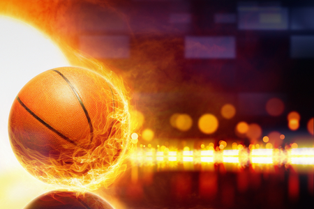 smoke background: Abstract sports background - burning basketball, orange glowing lights with reflection