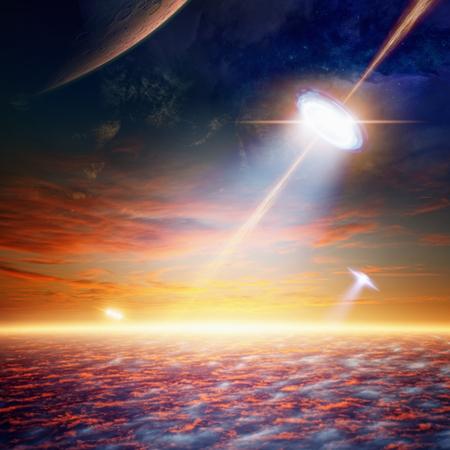 fantastic: Fantastic background - alien spaceship shines spotlight, aliens invasion.
