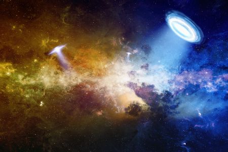 higher intelligence: Abstract scientific background - ufo in deep space, extraterrestrial intelligence, glowing mysterious universe.