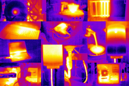 thermal image: Scientific background - collage composed of photos taken by thermal camera