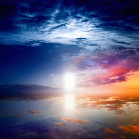 Peaceful beautiful background- way to heaven, bright light from heaven door, glowing horizon