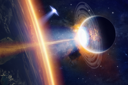 nibiru in space: Fantastic background - aliens planet and ufo hits planet Earth, aliens invasion, space extraterrestrial weapon. Elements of this image furnished by NASA nasa.gov Stock Photo