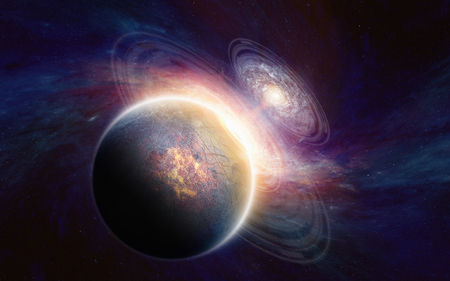 gravitation: Abstract scientific background - glowing aliens planet in deep space, spiral galaxy. Stock Photo