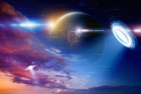 nibiru: Fantastic background - UFO shines spotlight, aliens invasion, dark planet in space. Elements of this image furnished] Stock Photo