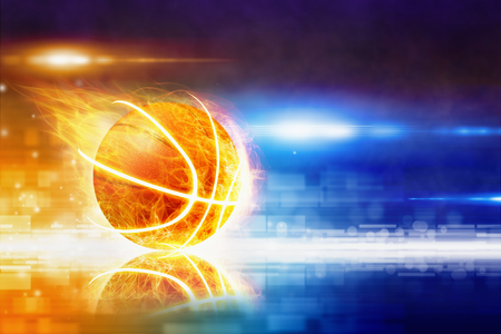 blue flame: Abstract sports background - burning basketball with reflection, glowing colorful lights Stock Photo