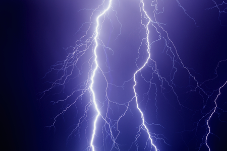 dark sky: Nature force background - powerful lightnings in dark stormy sky, stormy weather