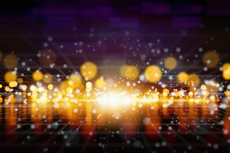 horizon reflection: Abstract background - bright yellow lights with reflection, shiny sparkles, glowing horizon. Stock Photo