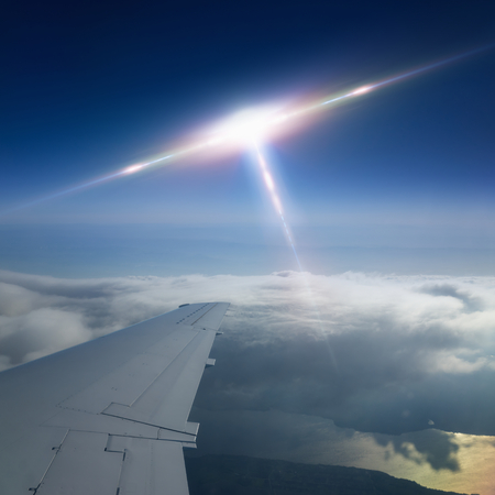approaches: Abstract scientific background - flying craft piloted by aliens approaches to aircraft, ufo flies near airplane