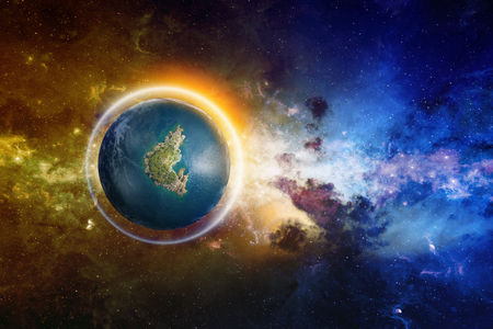 discovered: Abstract scientific background - discovered Earth-like planet with liquid water and glowing shield Stock Photo