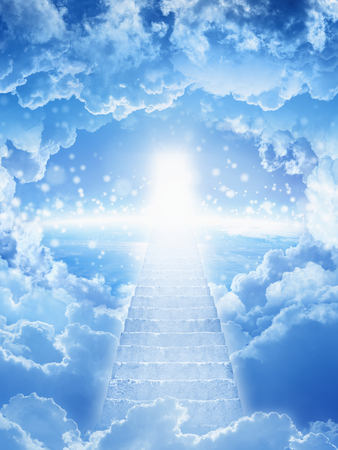 Beautiful religious background - stairs to heaven, bright light from heaven, stairway leading up to skies, bright light from heaven door