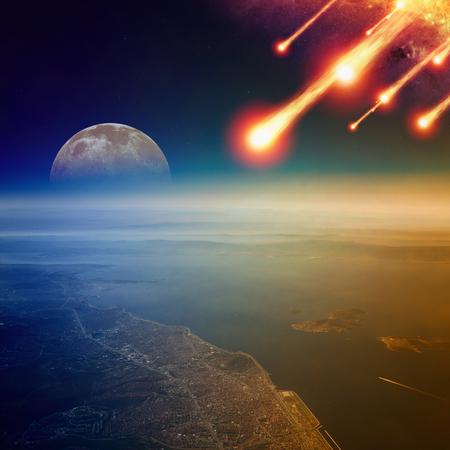 Apocalyptic background -  asteroid impact, end of world, judgment day. Group of burning exploding asteroids approaches to surface of planet Earth. Elements of this image furnished by NASA Stock Photo