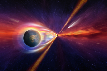 Abstract scientific background - planet, stars and comet falls into black hole because of effects strong gravitational field. Elements of this image furnished by NASA