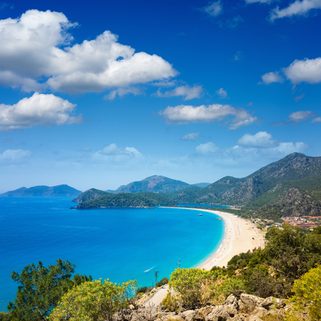 Aerial view of beautiful blue lagoon and beach in Oludeniz, Fethiye district, Turquoise Coast of southwestern Turkey Stock Photo