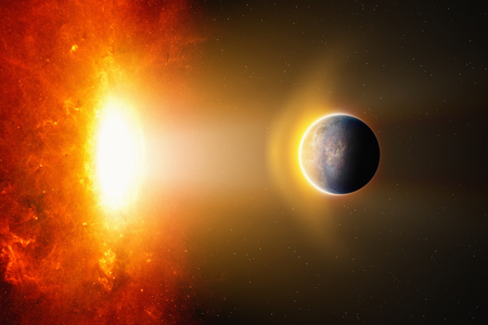 Abstract fantastic background - burning hot planet approaches to bright red glowing star. Elements of this image furnished by NASA